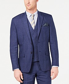 Men's Classic-Fit UltraFlex Stretch Blue Plaid Suit Jacket