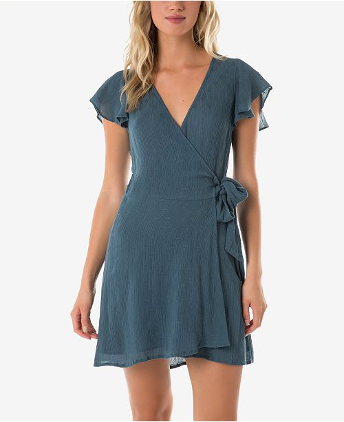 O'Neill Juniors' Maureen Flutter-Sleeve Wrap Dress