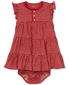 Polo Ralph Lauren Baby Girls Floral-Print Cotton Flutter-Sleeve Dress