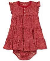 32a90eccf42 Polo Ralph Lauren Baby Girls Floral-Print Cotton Flutter-Sleeve Dress