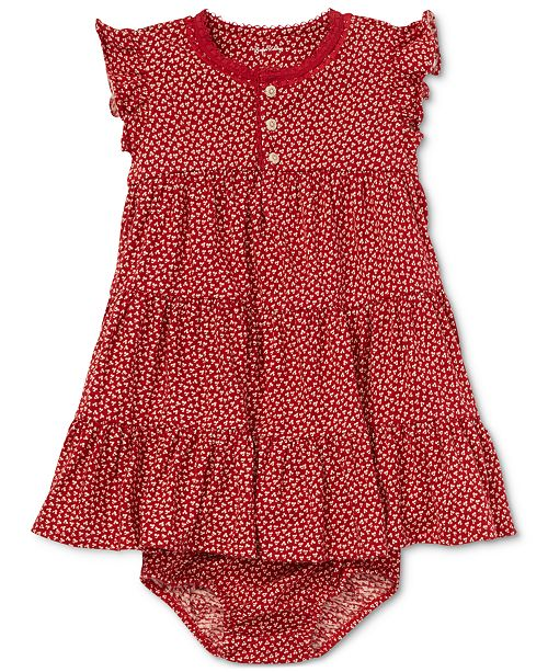 4e8651ada4 Polo Ralph Lauren Baby Girls Floral-Print Cotton Flutter-Sleeve Dress ...