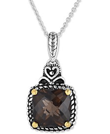 "Smoky Quartz Two-Tone 16"" Pendant Necklace (6 ct. t.w.) in Sterling Silver & 14k Gold"