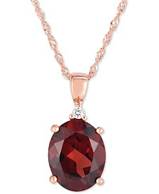 "Garnet (2-1/2 ct. t.w.) & Diamond Accent 18"" Pendant Necklace in 14k Rose Gold"