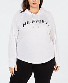 Tommy Hilfiger Plus Size Logo Raglan-Sleeve Hoodie