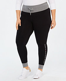 Tommy Hilfiger Sport Plus Size Contrast-Trim Logo Leggings