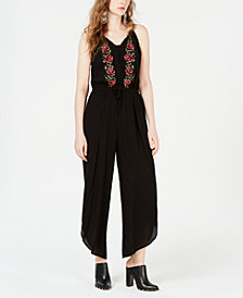 American Rag Juniors' Embroidered Cropped Jumpsuit, Created for Macy's