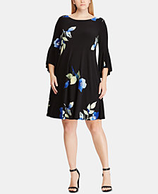 Lauren Ralph Lauren Plus Size Floral-Print Bell-Sleeve Dress