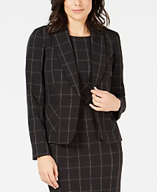Kasper Windowpane Plaid One-Button Jacket