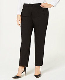 Alfani Plus Size Enamel-Snap Pants, Created for Macy's