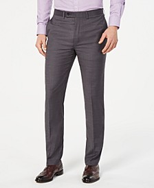 Men's Slim-Fit Performance Stretch Wrinkle-Resistant Gray Mini-Grid Dress Pants