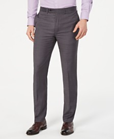Calvin Klein Men's Slim-Fit Performance Stretch Wrinkle-Resistant Gray Mini-Grid Dress Pants