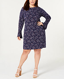 MICHAEL Michael Kors Plus Size Printed Bell-Sleeve Sheath Dress