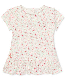Polo Ralph Lauren Baby Girls Floral-Print Cotton T-Shirt
