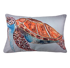 Edie@Home Embroidered Sequined Turtle Outdoor Pillow