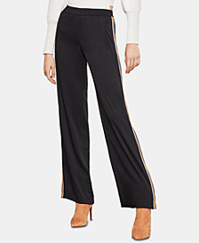 BCBGMAXAZRIA Side-Stripe Wide-Leg Crepe Pants