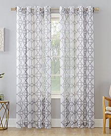 "Lichtenberg No. 918 Powell Trellis Sheer Grommet Curtain Panel, 59"" W x 84"" L"