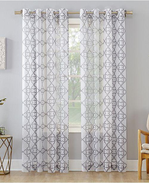 Trellis Print Sheer Curtain Panel