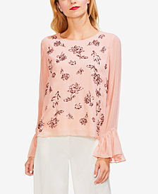 Vince Camuto Embellished Ruffle-Sleeve Top