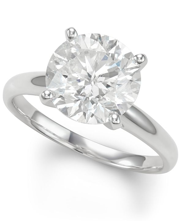 Macy's Diamond Solitaire Engagement Ring (4 ct. t.w.) in 14k White Gold