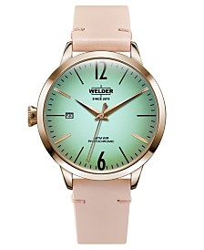 WELDER Women's Pink Leather Strap Watch 38mm