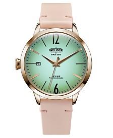 WELDER Women's Pink Leather Strap Watch 38mm