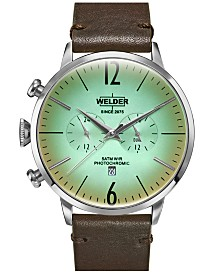 WELDER Men's Dark Brown Leather Strap Watch 45mm