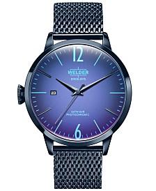 WELDER Men's Blue Stainless Steel Mesh Bracelet Watch 42mm