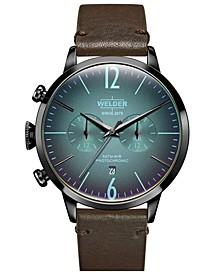 Men's Dark Brown Leather Strap Watch 42mm