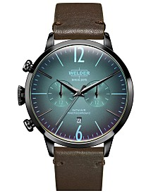 WELDER Men's Dark Brown Leather Strap Watch 42mm