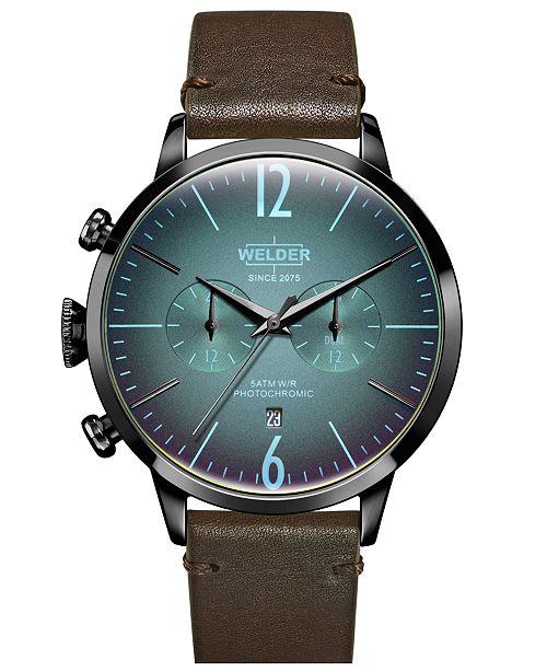 WELDER Men's Dark Brown Leather Strap Watch 42mm