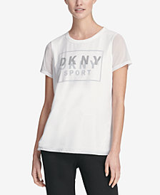 DKNY Sport Mesh-Overlay Logo T-Shirt, Created for Macy's
