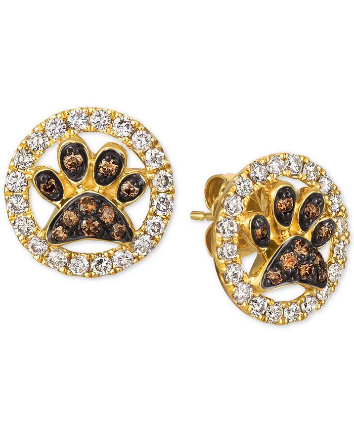 Le Vian - Nude™ & Chocolate® Diamond Paw Prints Stud Earrings (3/4 ct. t.w.) in 14k Gold
