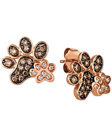 Nude™ & Chocolate® Diamond Paw Prints Stud Earrings (3/8 ct. t.w.) in 14k Rose Gold