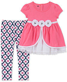 Kids Headquarters Toddler Girls 2-Pc. Floral-Trim Tunic & Floral-Print Leggings Set