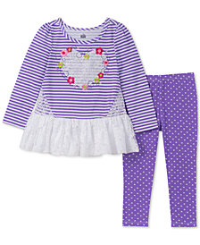 Kids Headquarters Toddler Girls 2-Pc. Lace-Trim Tunic & Heart-Print Leggings Set