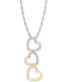 "Diamond Tricolor Triple Heart 18"" Pendant Necklace (1/5 ct. t.w.) in 10k Gold, White Gold & Rose Gold"