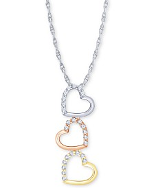 """Diamond Tricolor Triple Heart 18"""" Pendant Necklace (1/5 ct. t.w.) in 10k Gold, White Gold & Rose Gold"""
