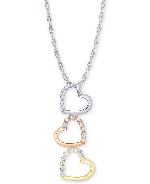 "Macy's Diamond Tricolor Triple Heart 18"" Pendant Necklace (1/5 ct. t.w.) in 10k Gold, White Gold & Rose Gold"
