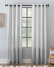 "Seersucker Stripe Cotton Blend Grommet Top Curtain, 50"" W x 95"" L"