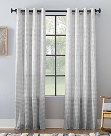 "Archaeo Seersucker Stripe Cotton Blend Grommet Top Curtain, 50"" W x 84"" L"