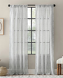 "Archaeo Global Block Textured Cotton Blend Sheer Curtain, 54"" W x 84"" L"