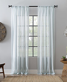 "Archaeo Ticking Stripe Textured Cotton Blend Sheer Curtain, 54"" W x 63"" L"