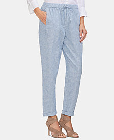 Vince Camuto Railroad Striped Linen Drawstring Pants