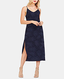 Vince Camuto Leaf-Print V-Neck Dress