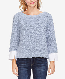Vince Camuto Contrasting-Cuff Popcorn Knit Top