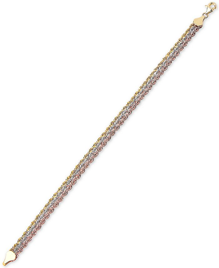 Italian Gold - Tricolor Triple Strand Rope Bracelet in 10k Gold, White Gold and Rose Gold