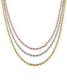 "Tricolor Triple Strand Rope 17"" Chain Necklace in 10k Gold, White Gold & Rose Gold"