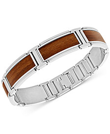 Stainless Steel and Willow Wood Inlay Bracelet