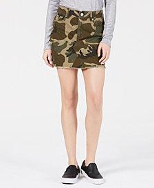Kendall + Kylie Cotton Camo-Print Skirt