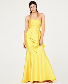 Adrianna Papell Strapless Jacquard Gown